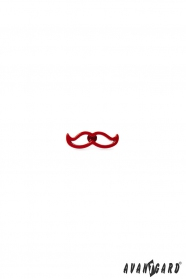 Öltöny kitűző - Piros modern bajusz