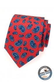 Piros selyem nyakkendő kék színű motívumokkal