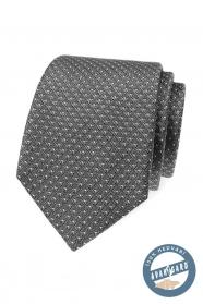Szürke finom mintás selyem nyakkendő egy díszdobozban