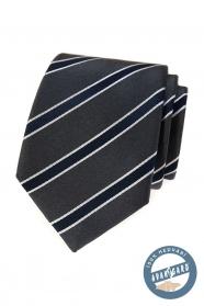 Szürke selyem nyakkendő, kék csíkkal, díszdobozban