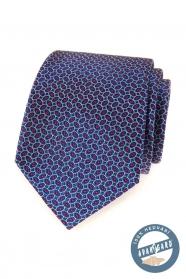Kék selyem nyakkendő piros mintával