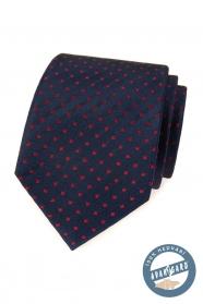 Kék selyem nyakkendő piros négyzetekkel