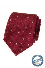 Mintás selyem nyakkendő bordó