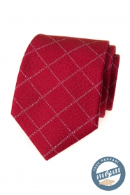 Piros selyem nyakkendő rácsos mintával