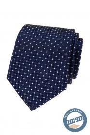Kék selyem nyakkendő fehér mintával