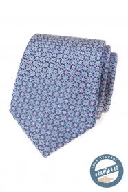 Selyem nyakkendő, kék-rózsaszín mintával
