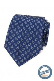 Kék selyem nyakkendő egy kis paisley mintával
