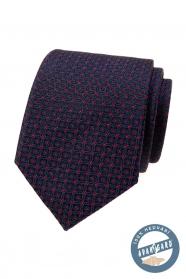 Kék selyem nyakkendő egy piros mintás