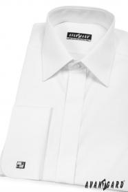 Fehér rejtett gombolású mandzsettagombos férfiing
