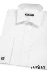 Fehér rejtett gombolású mandzsettagombos férfi szmokinging