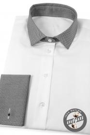 Fehér női ing szürke gallérral és francia mandzsettával