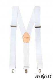 Fehér nadrágtartó bézs bőrrel és fém kapcsokkal
