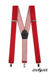 Piros nadrágtartó Y-alakú 3-klip tartó