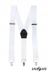 Fehér nadrágtartó fekete bőr és fém kapcsokkal