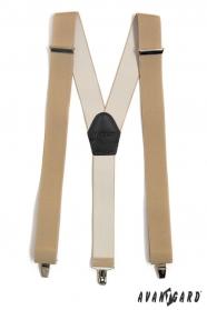 Bézs nadrágtartó Y-alakú 3-klip tartó