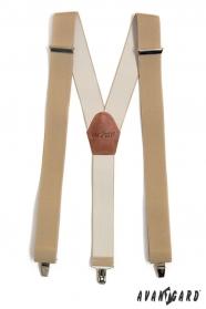 Bézs színű nadrágtartó Y-alakú 3-klip tartó
