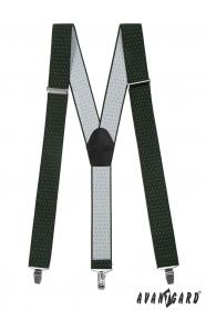 Zöld nadrágtartó fehér pöttyökkel, fekete bőr és fém klipekkel