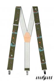 Halászati nadrágtartó bézs bőrrel és fém kapcsokkal