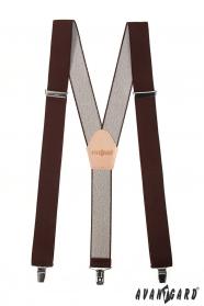Y alakú barna nadrágtartó bézs bőr középpel  és csipeszes csatolással - 35 mm