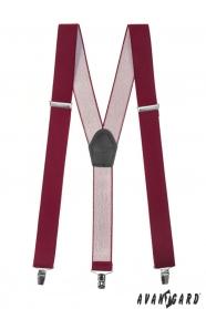 Bordó nadrágtartó Y-alakú 3-klip tartó
