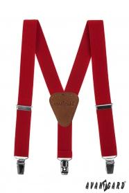 Piros fiú nadrágtartó bőr középpel és csatokkal - sötétbarna bőr