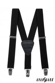 Fekete fiú nadrágtartó  Y-alakú 3-klip tartó