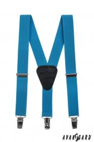 Fiú nadrágtartó  Y-alakú 3-klip tartó,  türkizkék szín