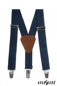 Sötét kék fiú Y alakú nadrágtartó sötét barna középpel és csatokkal