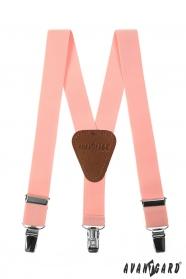 Világos rózsaszín fiú Y alakú nadrágtartó csatokkal és bőr középpel