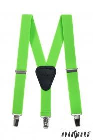 Neon zöld fiú Y alakú nadrágtartó csatokkal és fekete bőr középpel