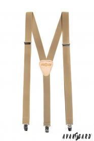 Bézs nadrágtartó Y-alakú 3-klip tartó, 25 mm