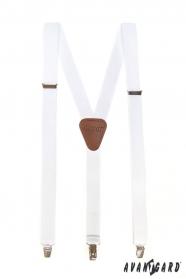 Fehér férfi nadrágtartó barna bőrrel és fém klipekkel