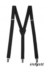Fekete nadrágtartó fekete bőrrel 3-klip tartó