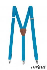 Y alakú türkíz nadrágtartó bőr középpel és csipeszes fogatással - 25mm