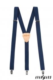Sötét kék Y alakú nadrágtartó csatokkal és bézs bőr középpel - 25 mm