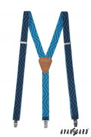 Šle Y s koženým středem a zapínáním na klipy - 25 mm - Tmavě modrá, koňaková kůže