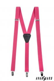 Rózsaszín nadrágtartó, fekete bőr, 3-klip tartó