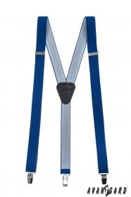Királykék, keskeny nadrágtartó Y alakú 3-klip tartó