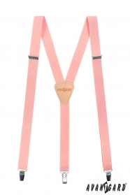 Világos rózsaszín Y alakú nadrágtartó csatokkal és bézs bőrrel