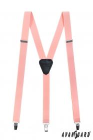 Rózsaszín nadrágtartó Y-alakú 3-csipeszes fogatás