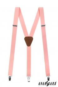 Világos rózsaszín Y alakú nadrágtartó csatokkal és sötét barna bőrrel