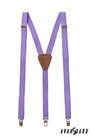 Férfi lila nadrágtartó, barna bőr és fém klipek