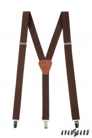 Barna Y alakú nadrágtartó csatokkal és sötét barna bőr középpel