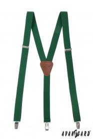 Smaragd Y alakú nadrágtartó bőr középpel és csatokkal - 25mm