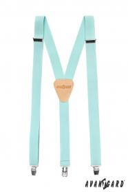 Azúrkék színű nadrágtartó, bézs bőrrel és fém klipekhez