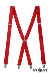 Vörös férfi nadrágtartó, fém kapcsokkal