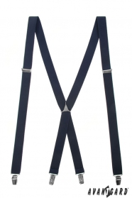 Férfi nadrágtartó X-alakú 4-klip tartó, sárga,Sötétkék