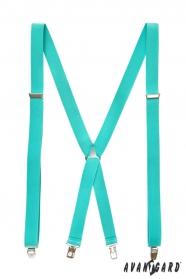 Férfi nadrágtartók X-alakú 4-klip tartó, menta kék