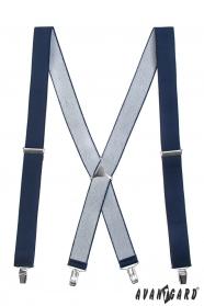 Sötétkék nadrágtartó X-alakú 4-klip tartó