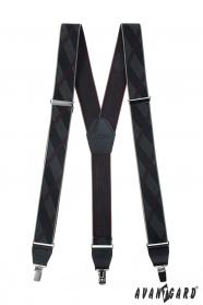 Fekete mintás férfi nadrágtartó fém kapcsokkal